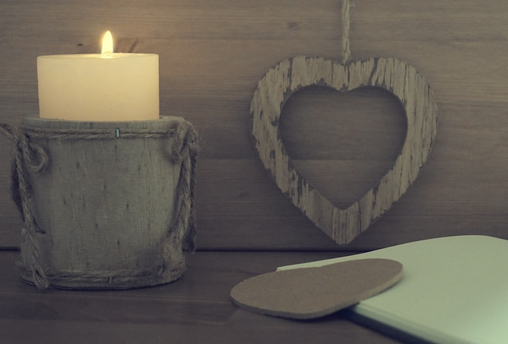 candle wooden heart