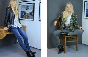 Overider fashion boutique in Tetbury leather biker jacket camo jacket jeans boots