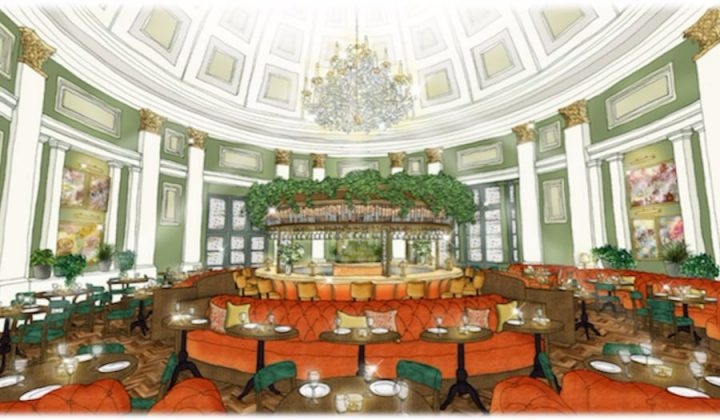 Interiors render of the green walls and rust-coloured banquettes in The Ivy Montpellier Brasserie in Cheltenham