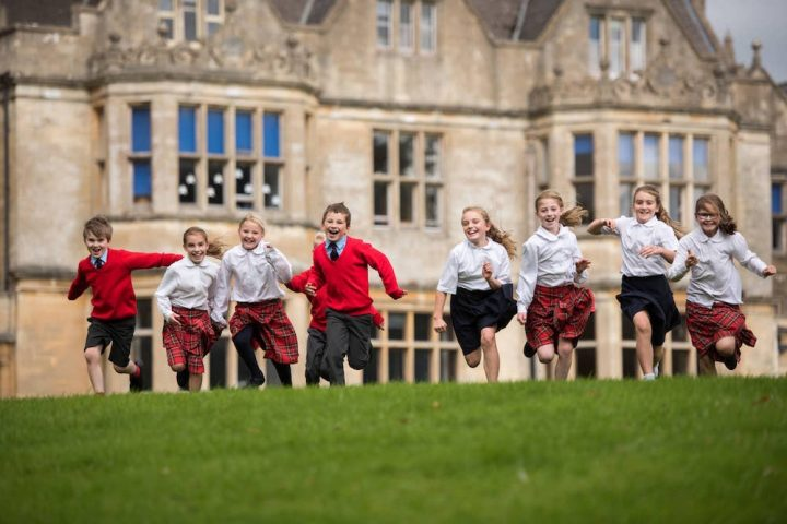 Hatherop pupils running in front of school