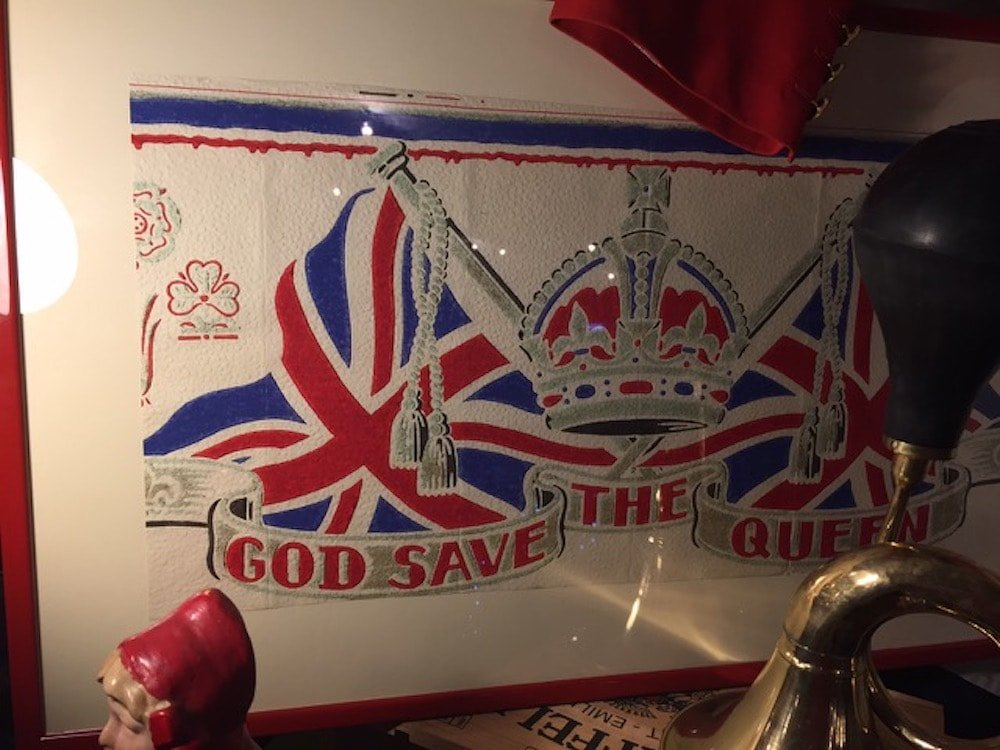 Union Jack and crown God Save The Queen vintage poster in a frame