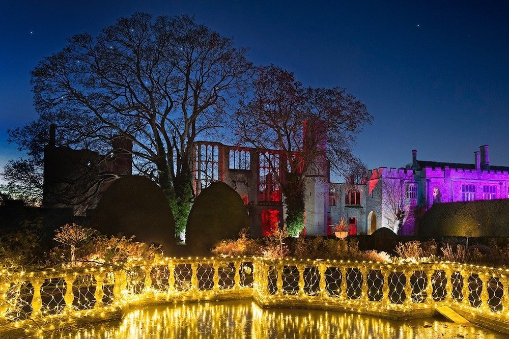 Sudeley Castle sparkling with light for Christmas