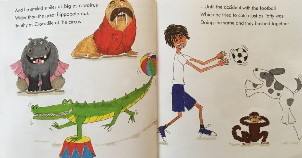 illustrations of hippo, walrus, crocodile and boy and dog and football