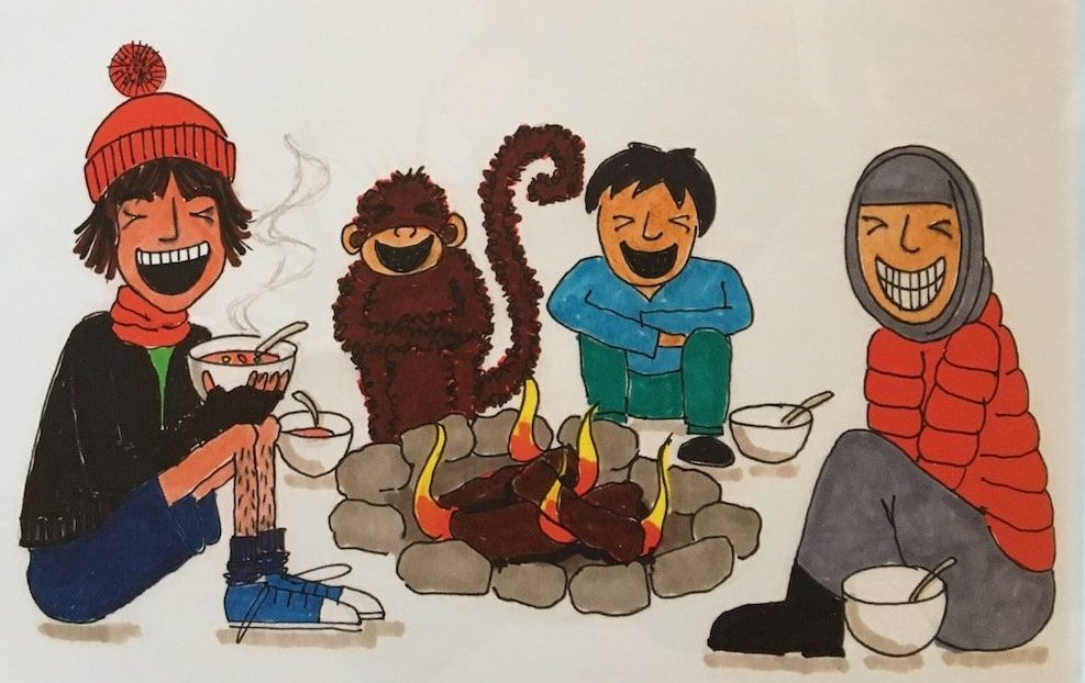 illustration of open fire people and a monkey sitting round laughing