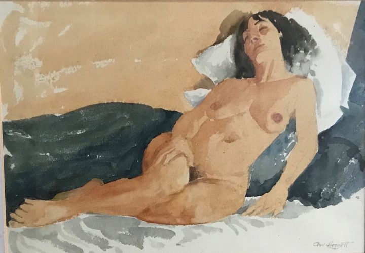painting of a nude woman reclining