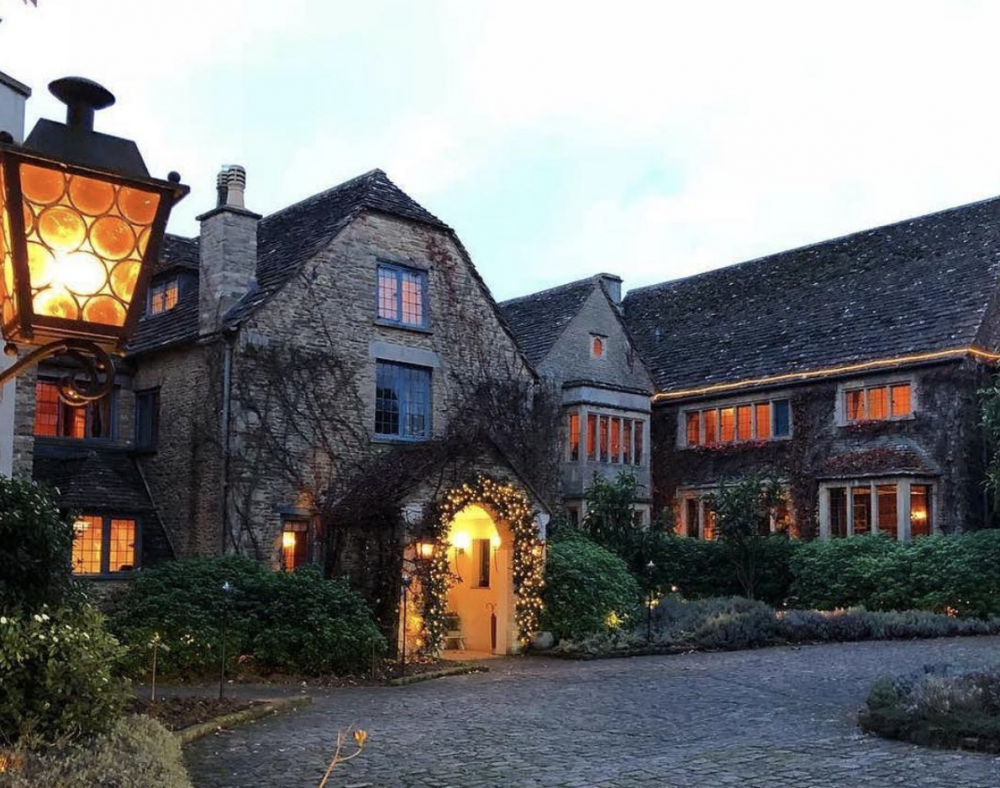 Whatley Manor in Wiltshire lit up at night