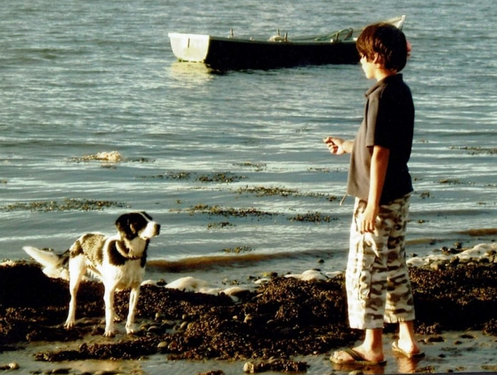 boy and dog by the shore boat