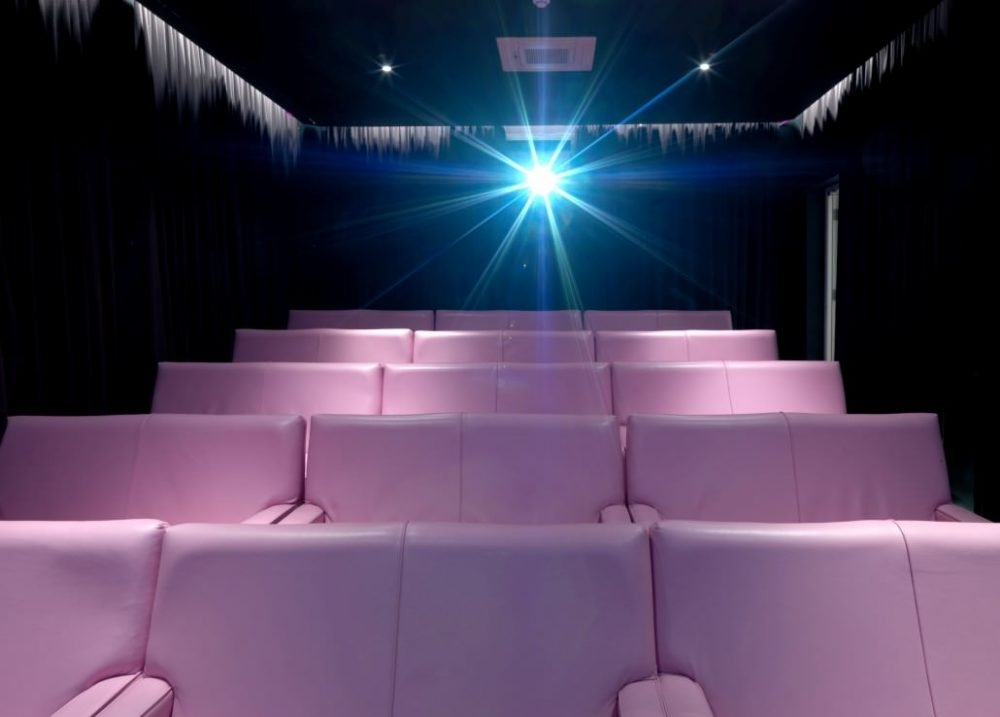 pink leather cinema armchairs