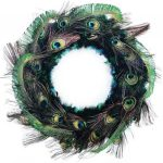 Christmas wreath made of peacock feathers