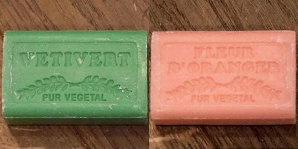green and orange Marseille soaps