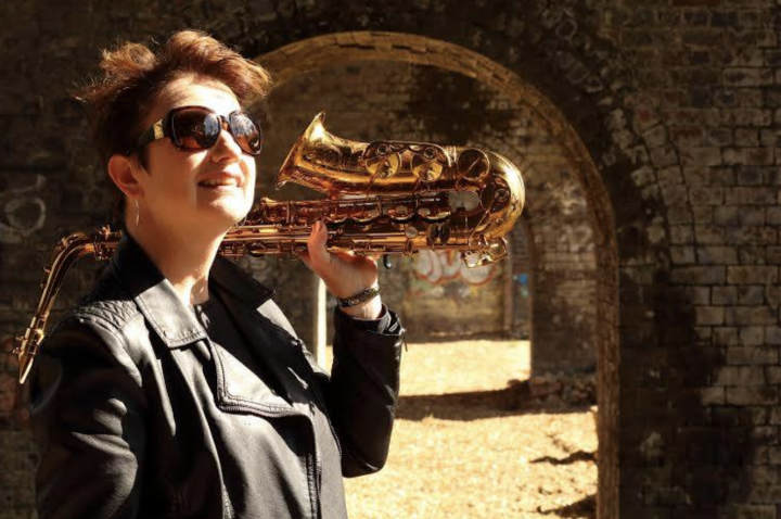 Live music at Stroud Brewery woman with saxaphone