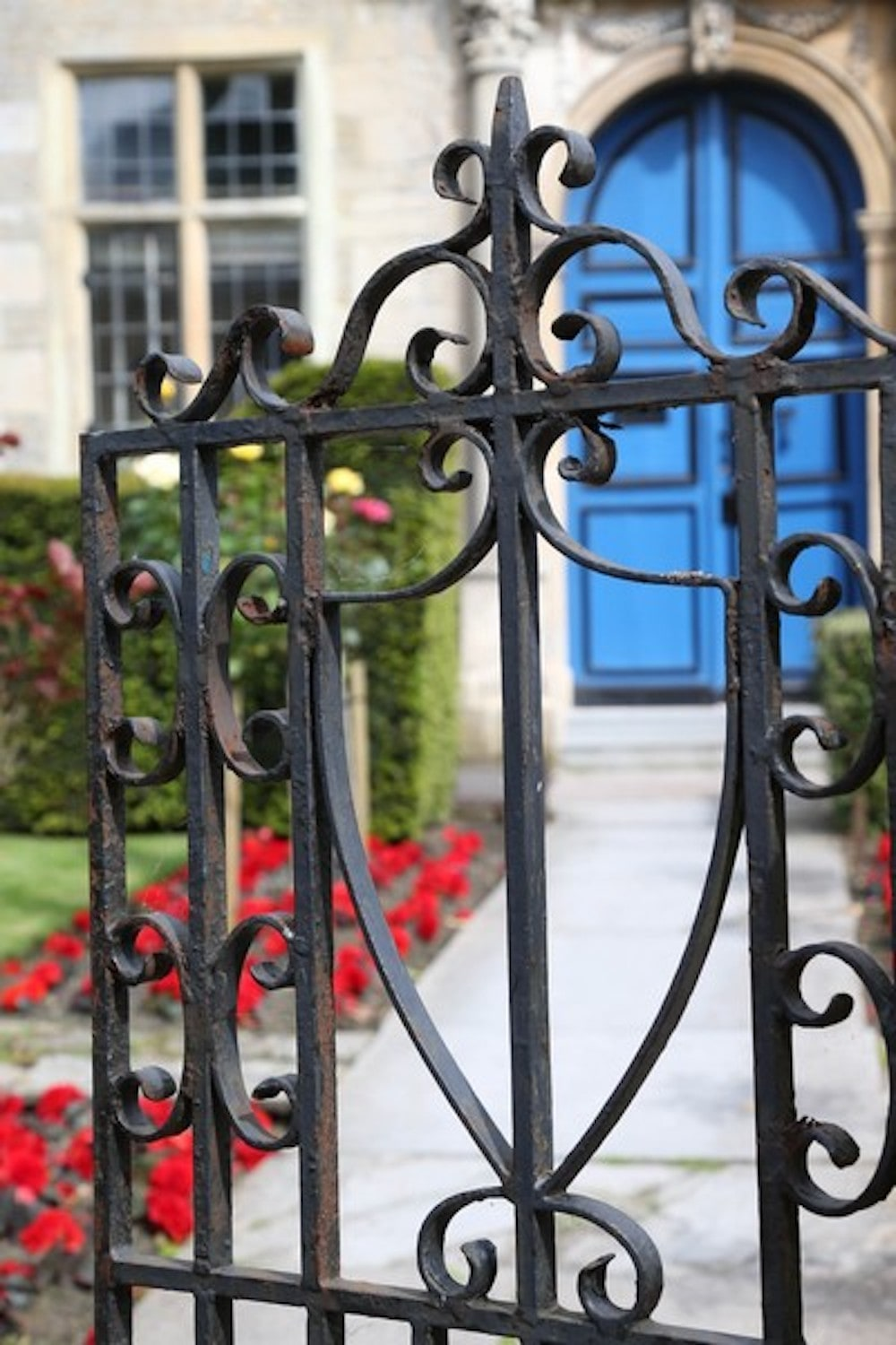 wrought iron gate, blue door, red flowers