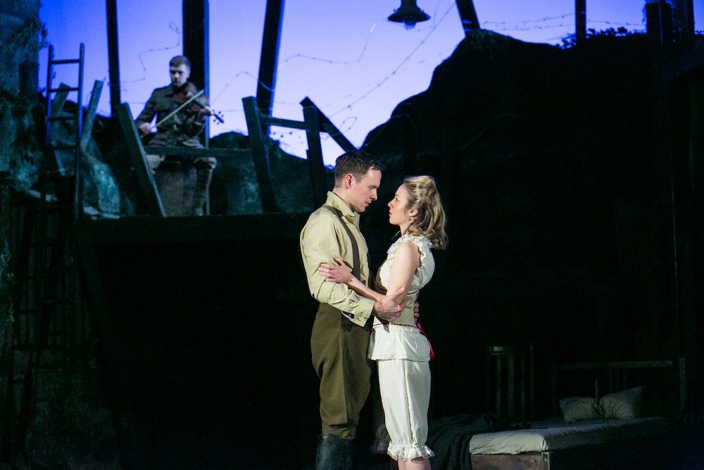 Stephen and Isabelle embrace in Birdsong