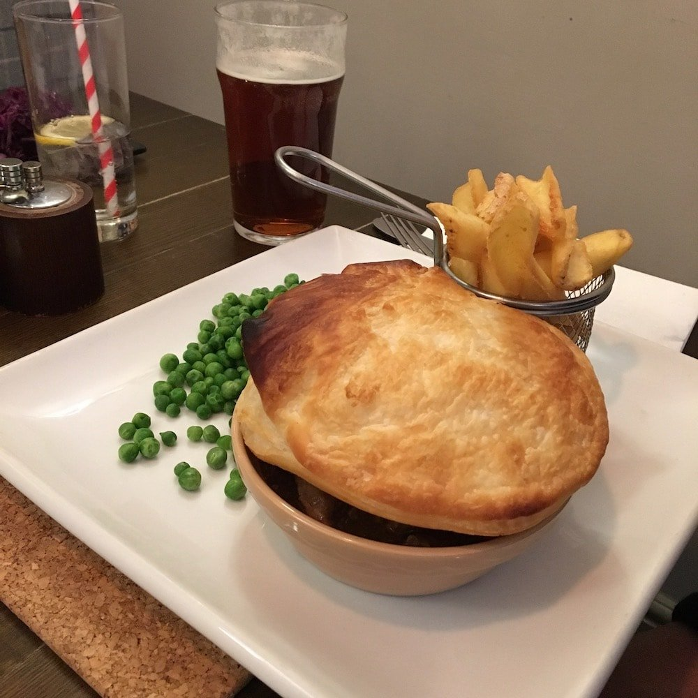 puff pastry venison pie peas fries