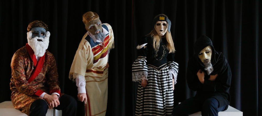 school drama production pupils in costume