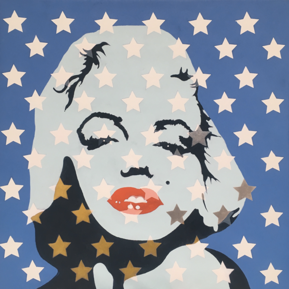 Marilyn Monroe red lips stars blue background