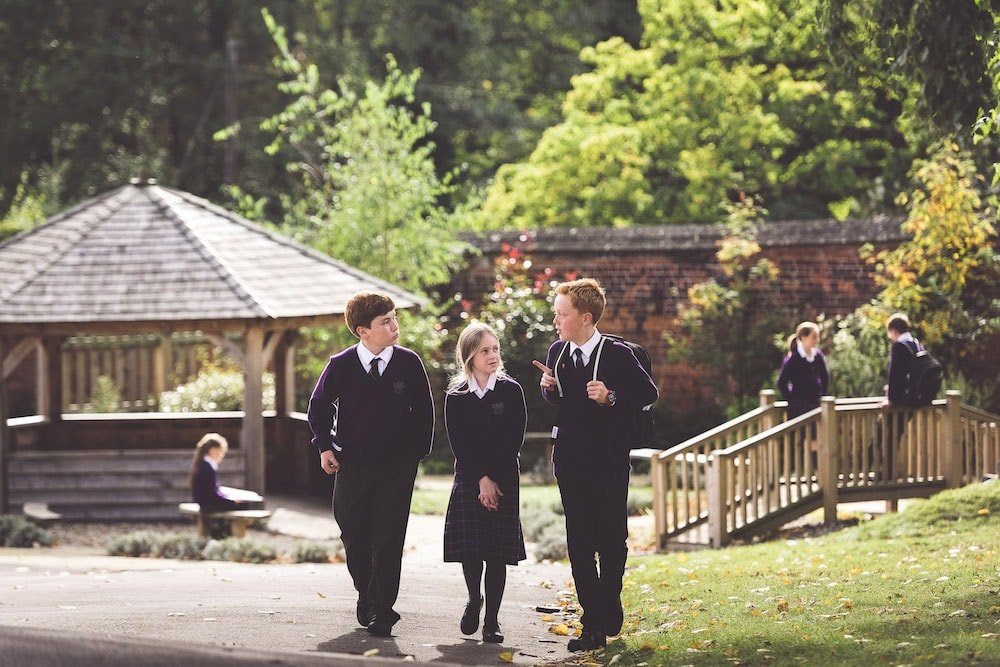 pupils outside in school gardens