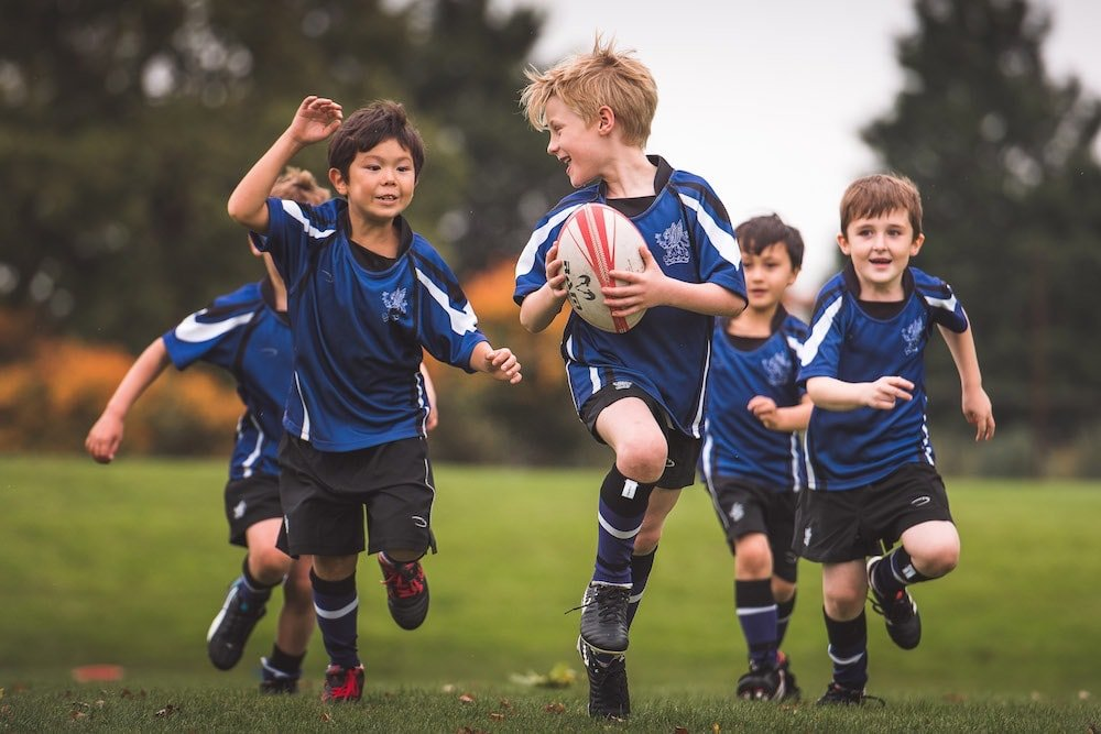 pupils playing rugby