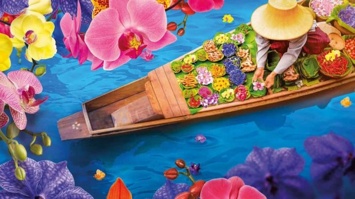 boat in blue water, bright flowers woman in straw hat