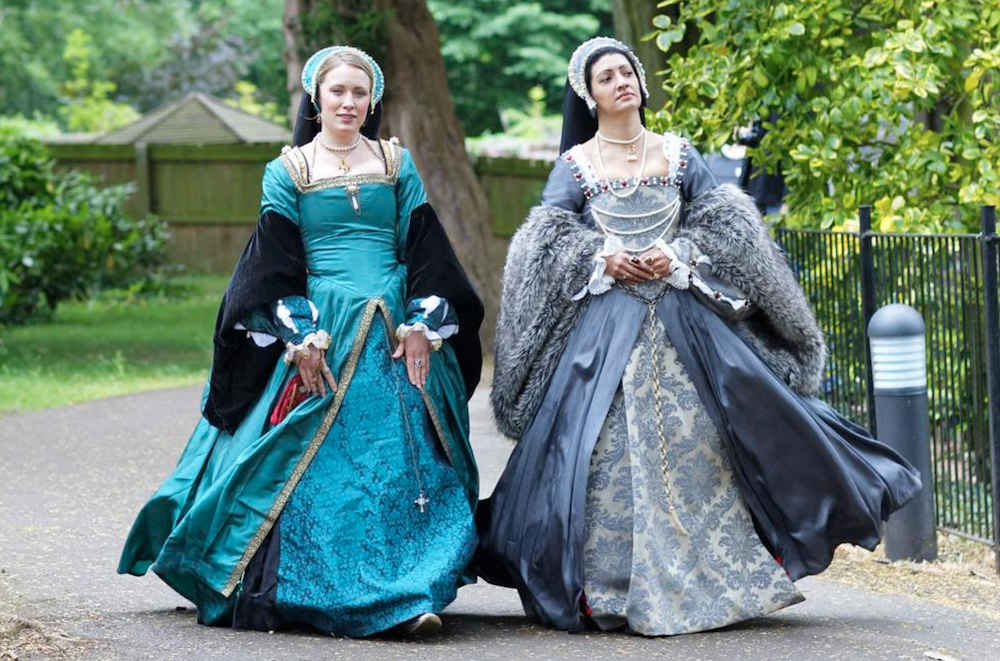 two women in Tudor dress
