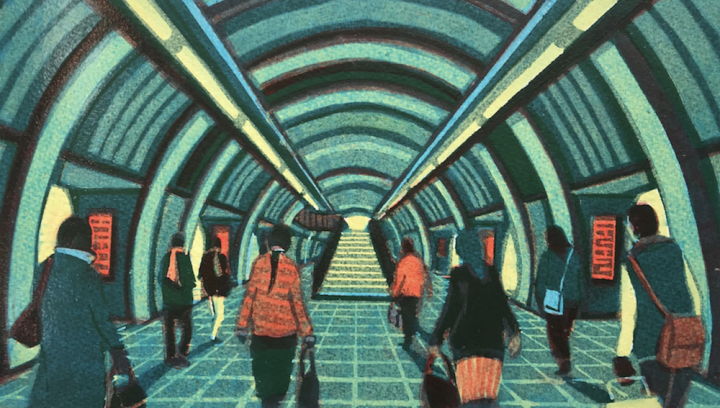 linocut print people in Tube