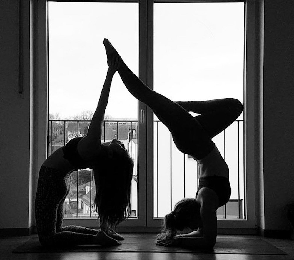 two women yoga