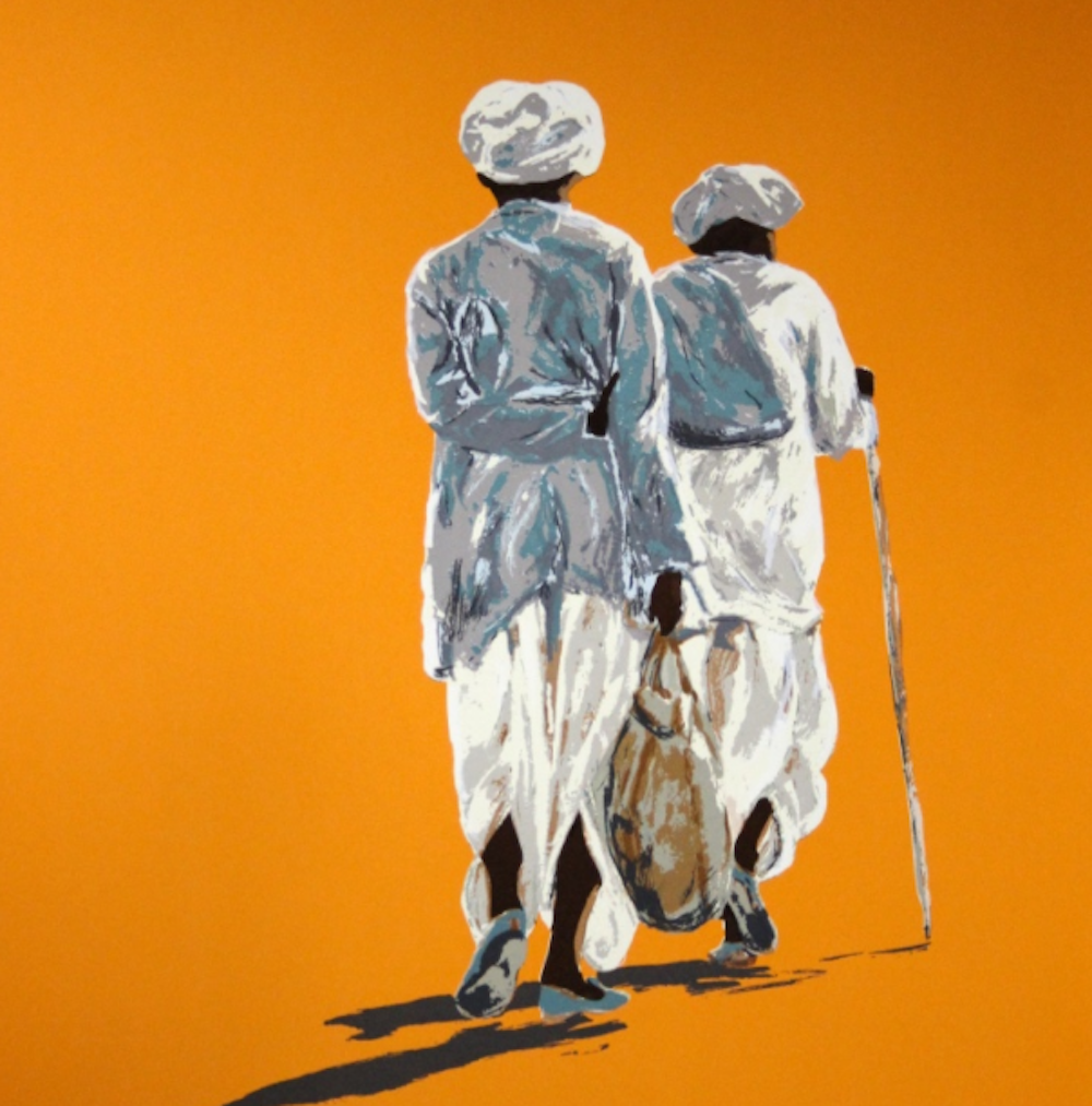 orange background painting two men in arab dress one with stick