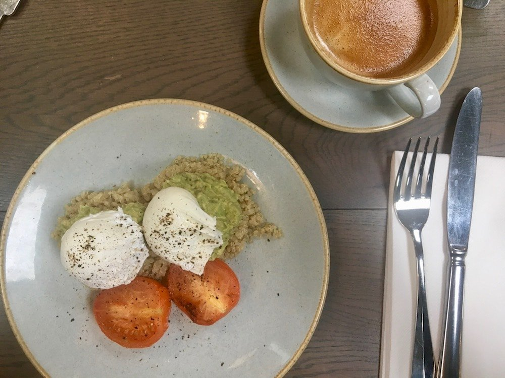 smashed avocado poached eggs quinoa tomatoes