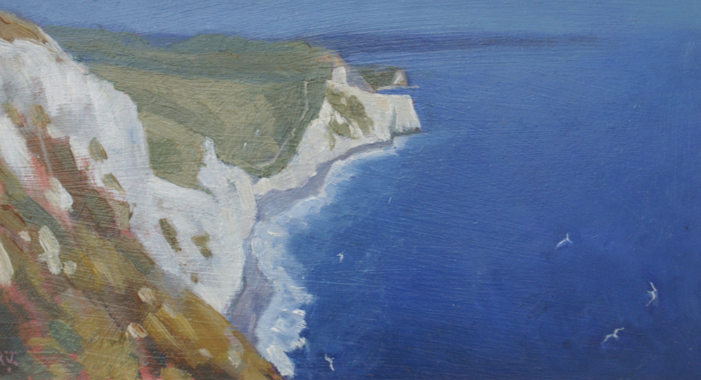 oil painting chalk cliff and sea