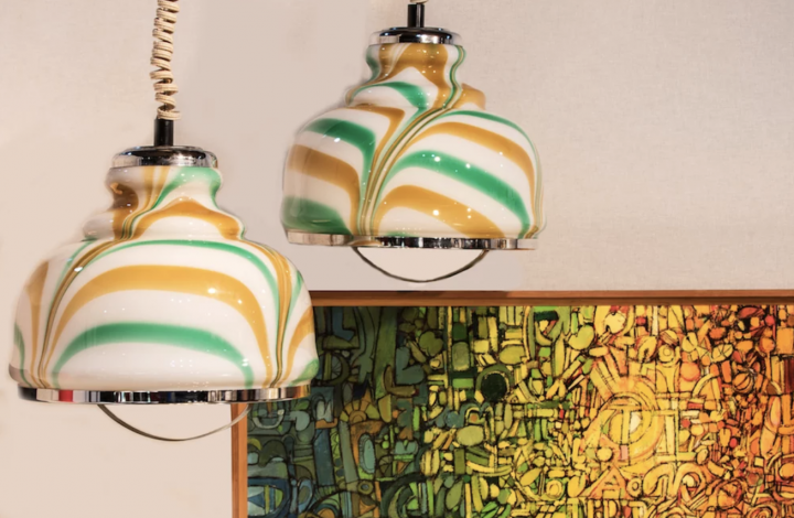 vintage hanging lights green yellow white abstract painting
