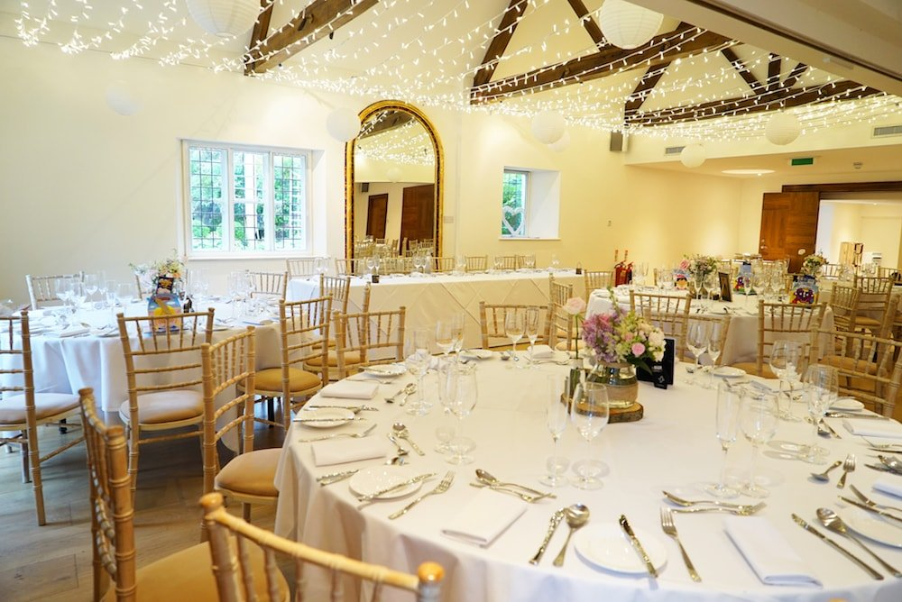 Cotswold House Hotel tables set for a wedding beams