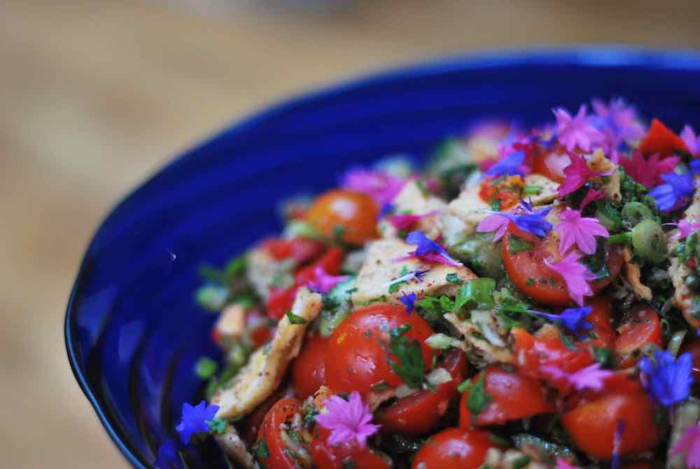 blue bowl tomatoes salad