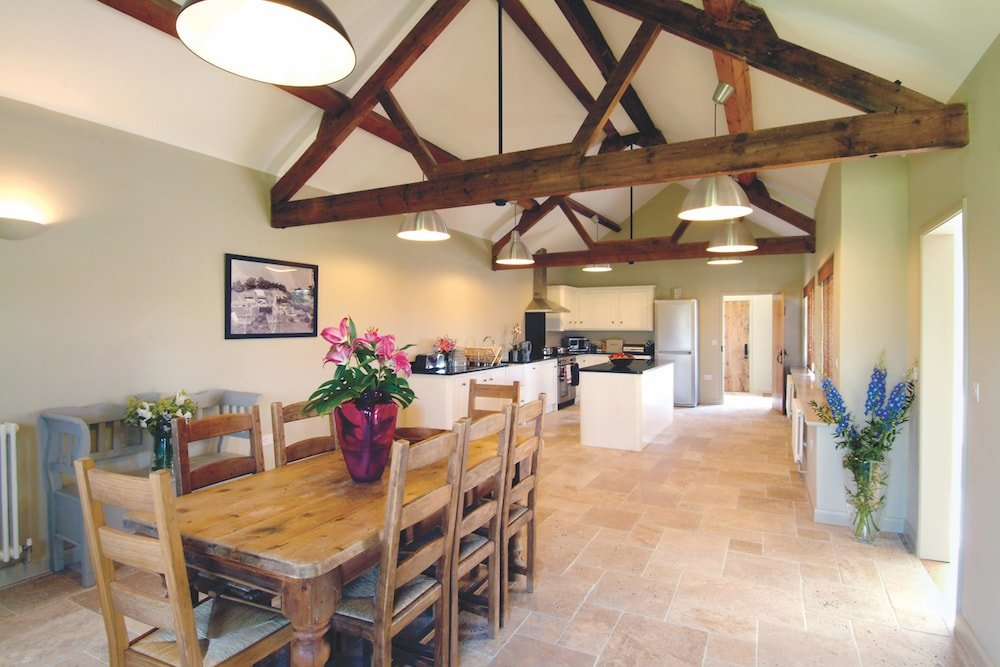 dining table oak beams kitchen