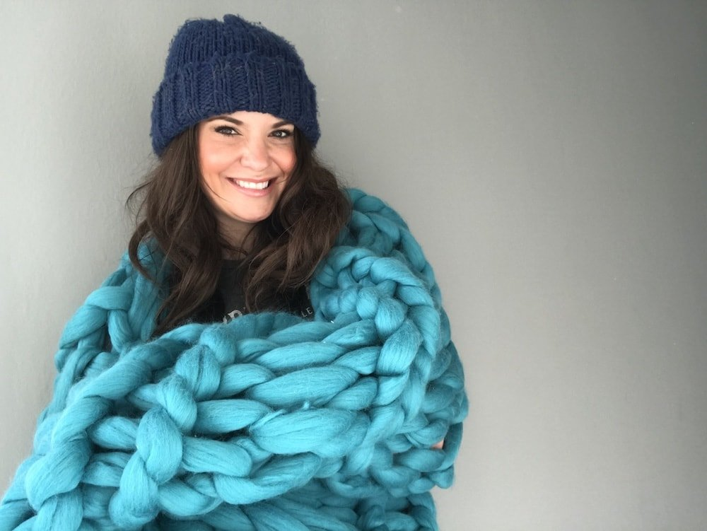 woman beanie hat chunky knit blanket