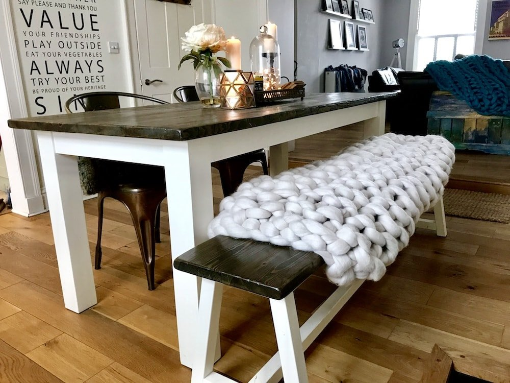 dining table bench with cream chunky knit throw