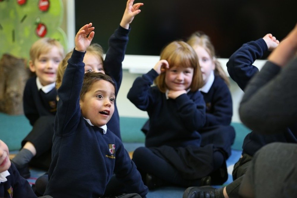 pupils hands up classroom