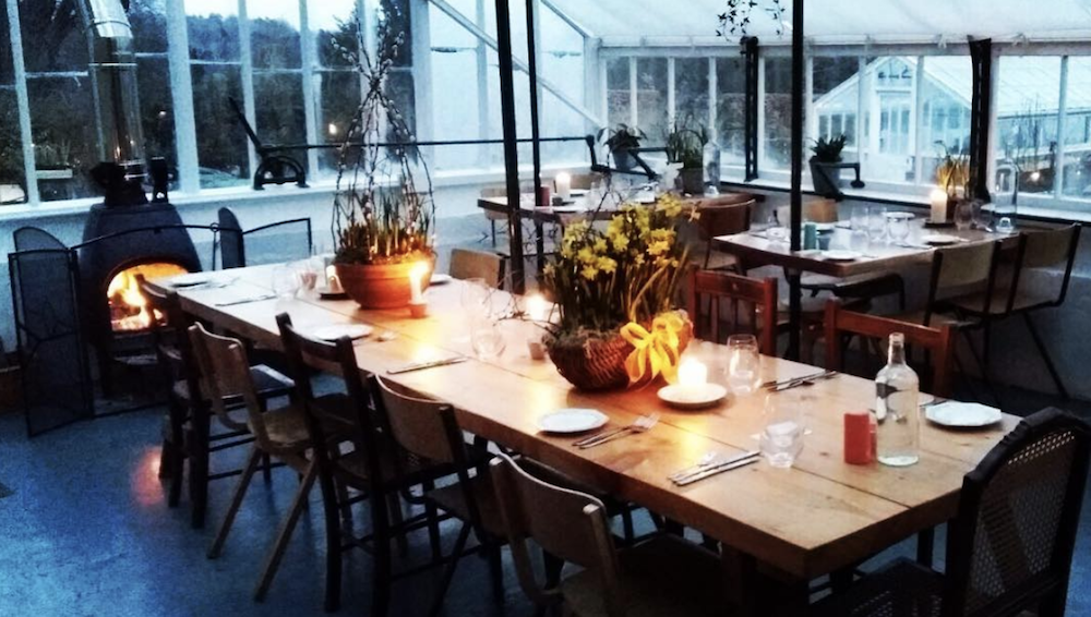 table set for dining greenhouse