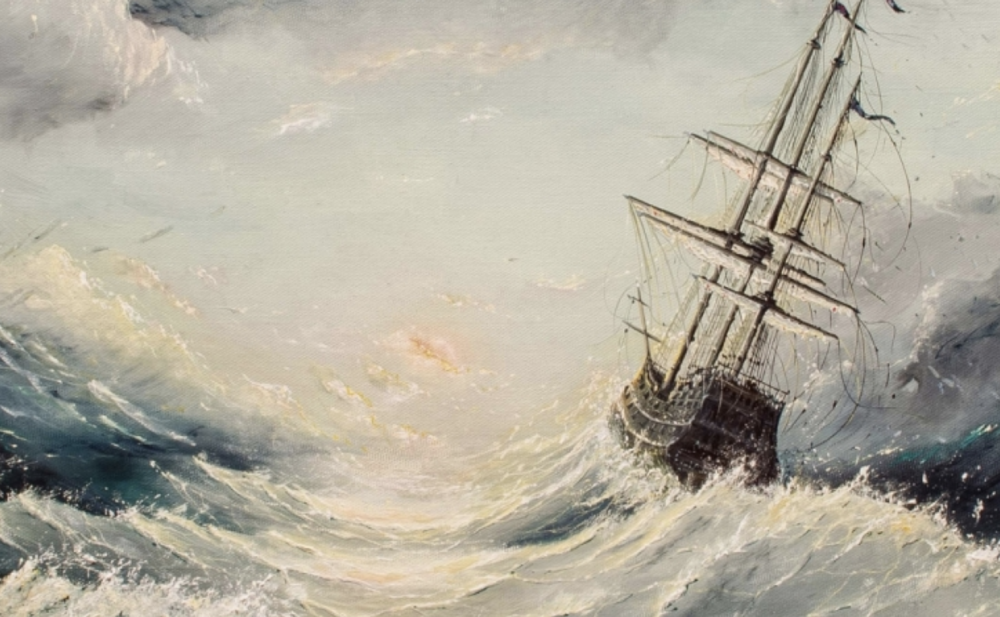 painting ship stormy sea