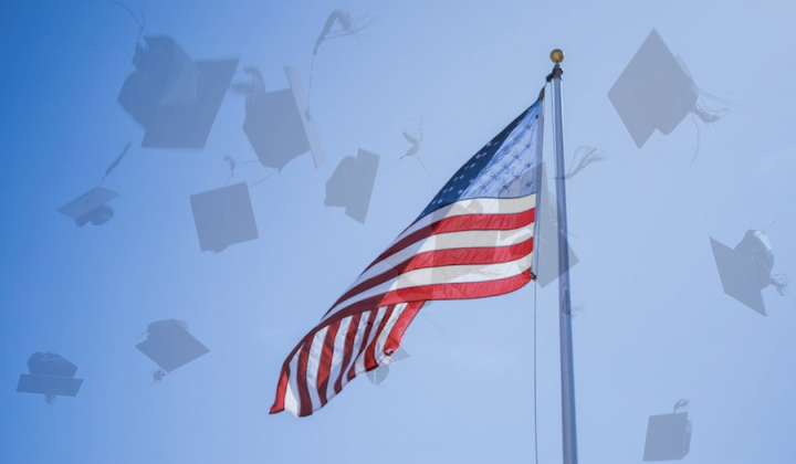 US flag mortar boards blue sky