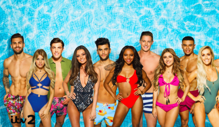 love island cast in swimwear, bikinis, swimsuits blue