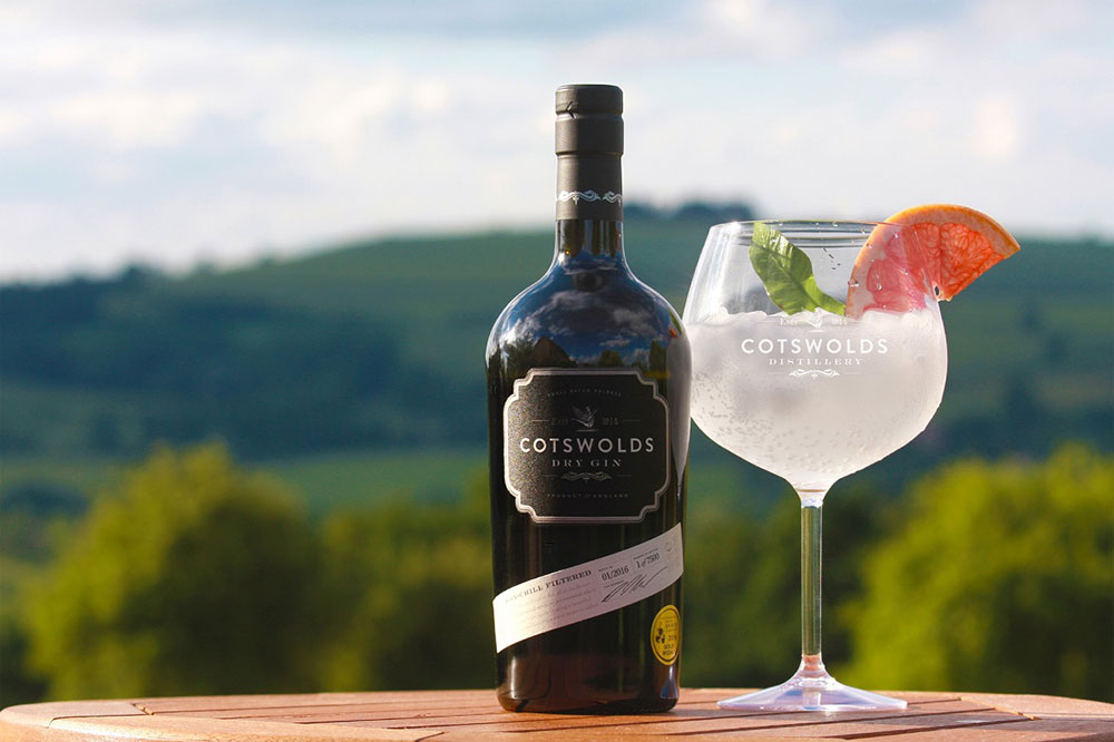 cotswolds distillery gin on table